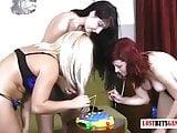 3 Very pretty young women play strip fishing
