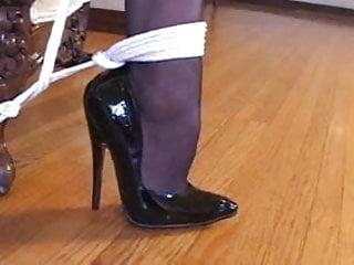 Bondage with sexy stockings amp high heels black...
