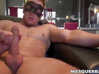 Solo masturbation session with young muscular masked gay