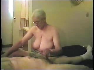 Busty granny sensual handjob...