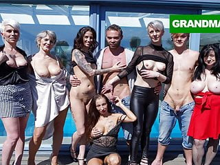 Slutty grannies found toy boys to play with...