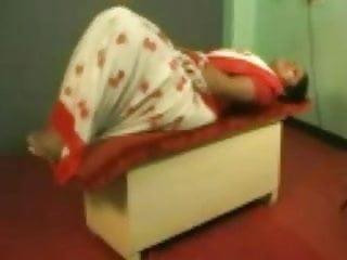 White mix, red saree, white pavadai,