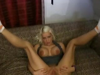 Blond german bitch fucked on couch