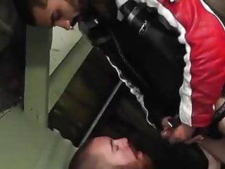 Bearded guy sucks and milking a biker guy...