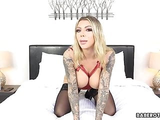 Woman with massive tits and tattoos, Karma Rx is masturbating