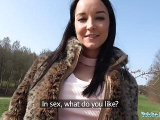 Public agent brazilian brunette rides cock on the...