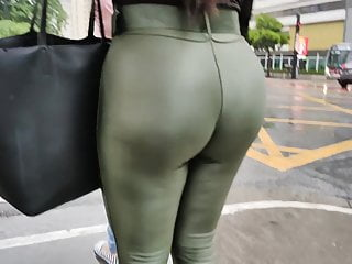 Immense large booty inexperienced legging secretary candid ass
