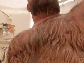 Bear taking shower