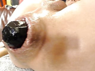 extreme insertion with selfmade 4.5 inch buttplug