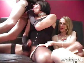 Three horny tranny sluts suck and fuck before jerking off