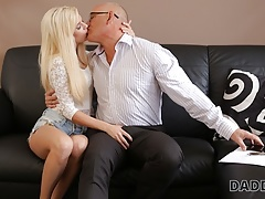 DADDY4K. Beautiful blonde tastes old dick of BFs dad inside