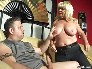 Big titted smoking granny sucks hard cock...