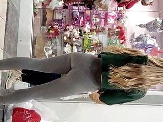 sexy blonde teen shows off incredible ass in grey leggingsporno videos