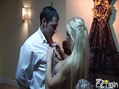 Curvy blonde seduces the room service guy and gets fucked