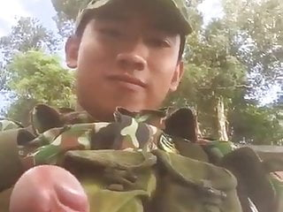 Young military shows his cut dick on cam...