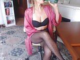 Beautiful MILF in Black Fantasy Pantyhose Teasing on Webcam