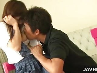 Pretty schoolgirl Miku Airi invited a boyfriend for hardcore