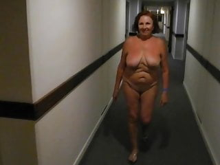 Dance and walk of a naked mature woman...