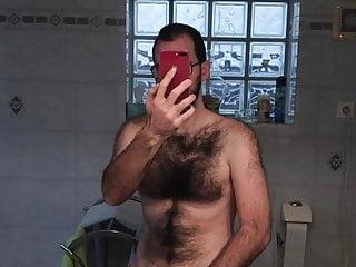 Soft masturbation of big white cock...