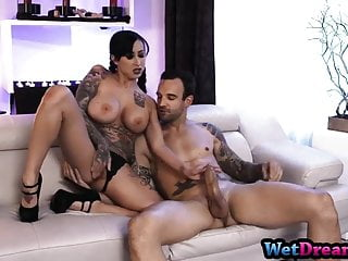 Bitch rides cock and swallows like a porn...