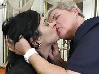 Lovely girls fucks old lesbian granny...
