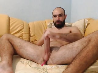 Bearded wank his big one with sextoys inside his hole