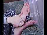 Delicious sweaty and pink soles of 27 years old girl