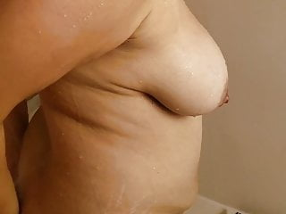 Mom in shower great tits