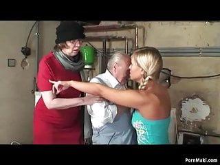 Granny masturbates while a blonde teen...