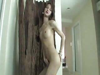Asian Ladyboy wanking her cock.
