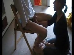 Slave boy handcuffed dominated by a vicious girl