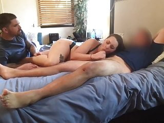 Large lover sucking friend's shaft while hubby eats her