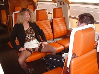 Public Nudity French Flashing video: Pervert milf and virgin boy in train