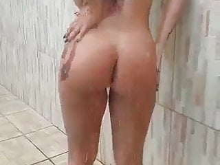 hot woman taking a shower