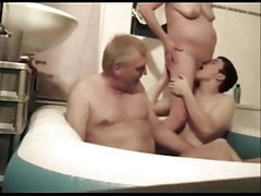 Old Swinger Couple & young man in bathtub (colour corrected)