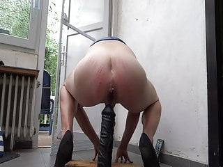 Spanked sissy bound chastity riding hard...