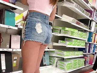Young Sexy Braless Candid Teen In Shorts
