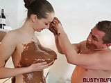 Busty Buffy covered in chocolate & titty fucked