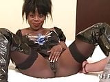 Casting of an amateur busty black girl in leather boots