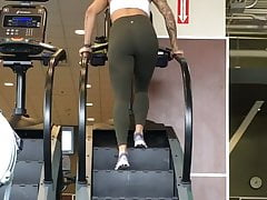 Sexy Teen in Tight Green Leggings Stair Climber