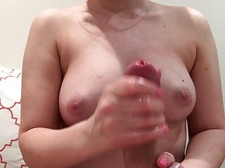 Wife gives HJ with Cumshot on Tits Using Silicone Lube