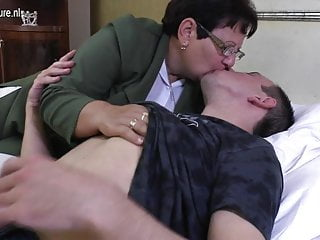 Taboo mature mom fucks her...
