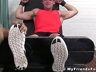 Jock Bradley tied up for severe feet tickling torment
