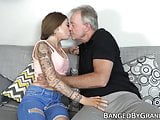 Young hottie seduces and fucks fat dicked grandpa