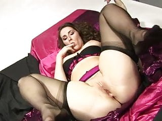 British slut Paige plays with herself in stockings